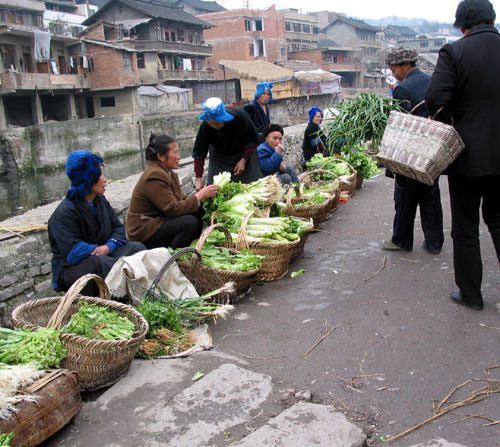 Vegetable sellers in a Chinese village market