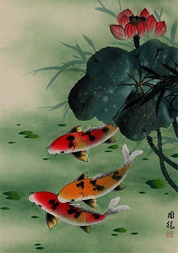 Koi Fish & Lotus Flower - Asian Art Wall Scroll close up view