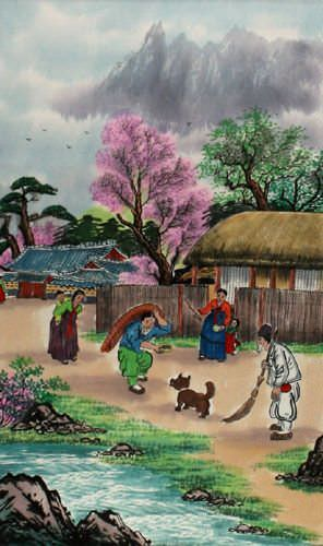 North Korean Happy Village Wall Scroll close up view