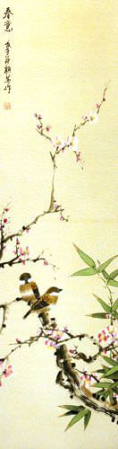 Enjoy the Beauty of Spring - Bird and Flower Silk Wall Scroll close up view