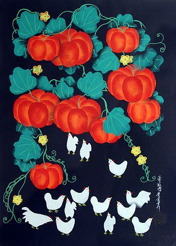 Chickens and Pumpkins Folk Art Painting