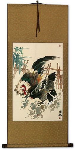 Chicken Family Wall Scroll